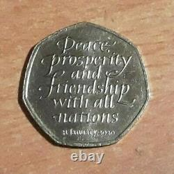 Rare Brexit 50p Peace, Prosperity and Friendship with all nations 2020