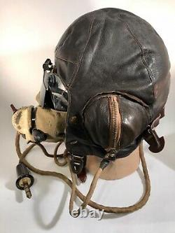 Rare Frank Bryan LTD 1939 WW2 RAF Leather Flying Helmet withOxygen Mask & Goggles