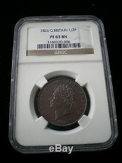 Rare Great Britain George IV 1826 Proof Half Penny 1/2d PF 63 BN
