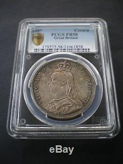 Rare Great Britain Queen Victoria Proof Crown 5/- PCGS PR58