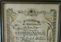 Rare HMS EXETER 1937 Crossing the Line (Equator) Initiation Document GRAF SPEE