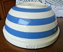 Rare Htf Huge T G Green Cornishware Blue White Striped Bowl Tab Hndl Shield Mark