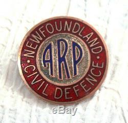 Rare Newfoundland Civil Defence Pin Air Raid Precautions Pre Confederation WW11