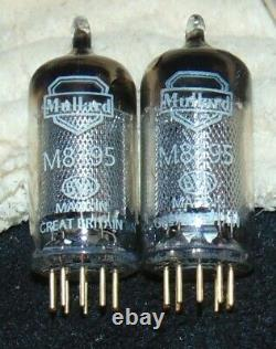 Rare Nos Mullard Match Pair M8195 Tubes Great Britain 1950's Gold Pin Ef86 Z729