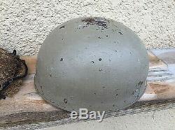 Rare Original British Ww2 Paratrooper Helmet Net & Liner Strap Britain Uk Wwii