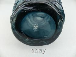 Rare Original Vintage Whitefriars MCM Art Glass Indigo Hoop Vase G. Baxter 9680