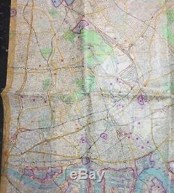 Rare Original WW2 1940 BLITZ Vintage GERMAN LUFTWAFFE BOMBING MAP of EAST LONDON