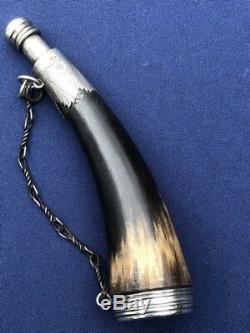 Rare Scottish 18th Century Scotland Powder Flask Silver Mounted Horn