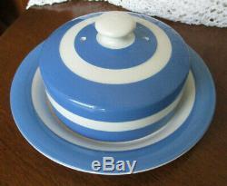 Rare T. G. Green Cornishware Blue & White Striped Covered Cheese Dish Shield Mrk