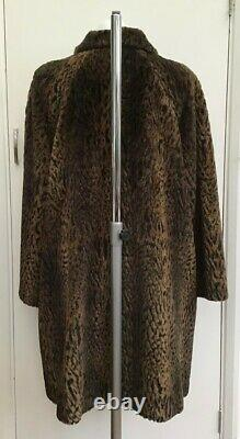 Rare Vintage Designer Jaeger Luxury Leopard Faux Fur Swing Coat fits a 12 or 14