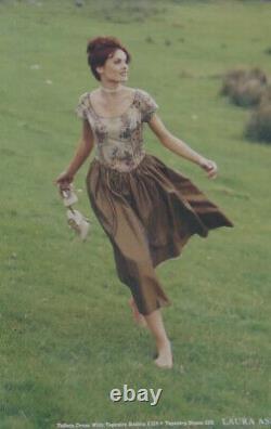 Rare Vintage Laura Ashley Gold Moire Taffeta & Tapestry Bodice Ballgown Dress 16