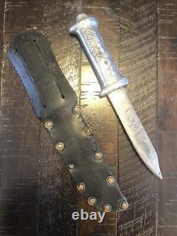 Rare WW2 Australia & New Zealand Fighting Knife Aluminum Grip & Scabbard