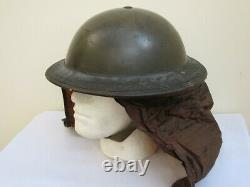 Rare WWII British Army Steel Combat Helmet Dated 1938, and Gas Hood cover