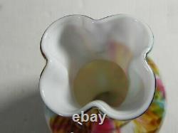 Rare Webb Art Glass Carved Tiffany signature 5.25 Vase Spangle Crepe Rainbow
