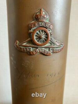 Rare Ww1 Trench Art British Royal Artillery 18 Pound Shell With Jesus Shrine