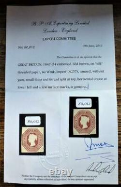 Rare with certification 1848 embossed 10d brown mint L/H SG57 see details