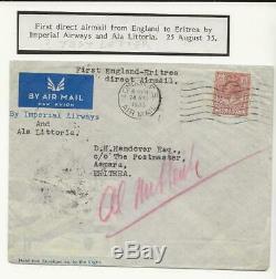 S2505 RARE GB Imperial Airways Ala Littoria First flight to Asmara Eritrea 1935