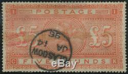 SG 137 £5 Orange (C-K) good/fine used copy of this rare stamp minor imperfection