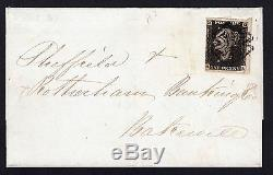 Sg3,1d PENNY BLACK Plate 1b RARE/SCARCE Manchester fishtail on entire Cat £4800