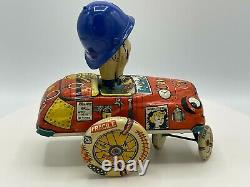 Super Rare Vintage Tin Great Britain Crazy Cop Police Toy Wind-Up and Push