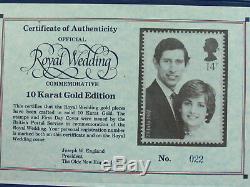 UK 1981 Royal Wedding Rare FDC With Invitation & 2 10k Gold Coins Diana & Charles