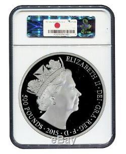 UK GREAT BRITAIN 500 Pounds (Silver Kilo) 2015 NGC PF 70 ULTRA CAMEO PROOF RARE