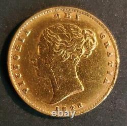 UK Great Britain 1848/7 Shield Half Sovereign Gold RARE DATE Victoria