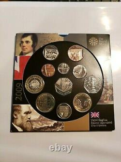 UK Great Britain 2009 Uncirculated Coin Set includes rare Kew Gardens 50 pence
