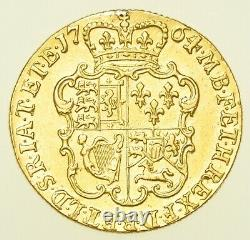 VERY RARE 1764 GEORGE III GUINEA, 2nd HEAD, BRITISH GOLD COIN GVF