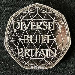 VERY RARE DIVERSITY BUILT BRITAIN UK 50p Coin, ER II (Free P&P Exc. Intl.)