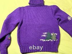 VINTAGE Ralph Lauren RL83 GREAT BRITAIN Hand Knit Family Sledding Sweater RARE