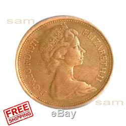 Very Rare 1971 Great Britain New Pence 2 Pence High Quality Color Toned Coin