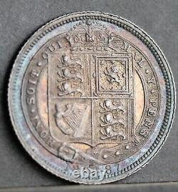 Victoria Sixpence, 1887 Jubilee Head JEB on Truncation Variety. R3 Very Rare. EF