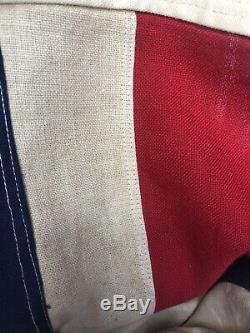Vintage British Union Jack Flag Stitched Panels OLD rare! 3X5' WW2 Antique