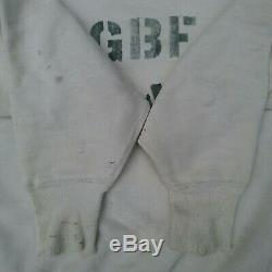 Vintage ww2 sweatshirt v vee 40s 50s Great Britain Forces stencil 46 GBF rare