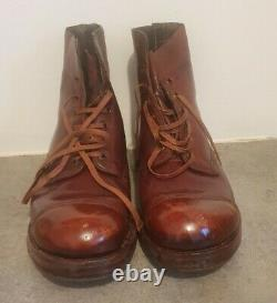 WW2 1945 dated British Army officers brown ammo boots UK 8 original soles RARE