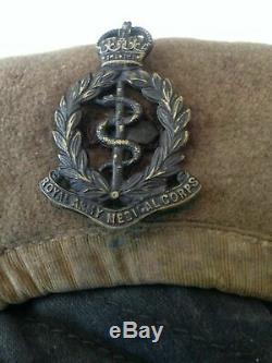 WW2 RAMC Uniform, Rare US war aid made BD & Side hat- named