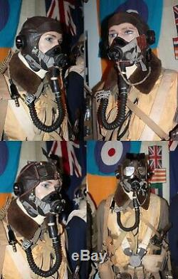 WWII RAF Authentic E-Type Rubber Oxygen Mask Set Near Mint Condition Soft RARE