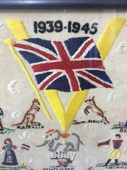 Ww2 Needle Work Sampler V For Victory With Allies 1939-1945 Home Front Rare