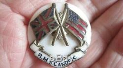 Wwi Rare R. M. S. Canopic Pin Launch 1900 White Star Line Steamship 2 Flags Allies